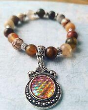 **MERMAID** Handmade Natural Stones Beads Bracelet **FIRE**