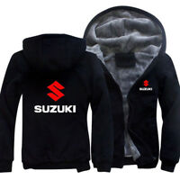 Unisex Winter Thicken Hoodie Fleece Suzuki Warm Sweatshirt Fur Lined Jacket Coat