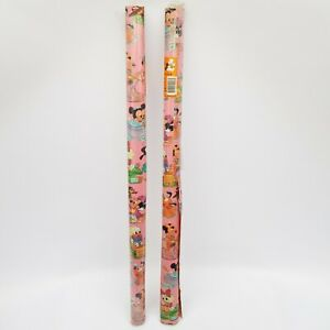 PAIR of Vintage Retro 1985 Disney Baby Pink Gift Wrap Wrapping Paper 70cm x 3,0m