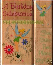 Tinkerbell Party ~ 4 pce Disney Wood Mount Rubber Stamp Set #47567, Fairy, New