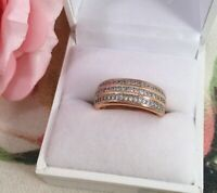 Vintage Jewellery Gold BandRing with White Sapphires Antique Deco Jewelry sz P