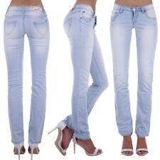 Damen Jeans Hose Hüftjeans Hellblau Gerader Schnitt Straight Leg Low Waist H52