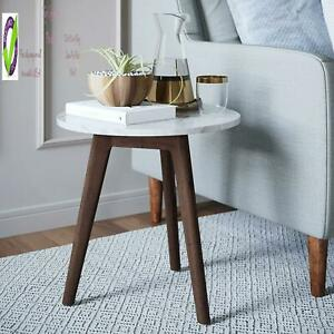 Nathan James Amalia Nightstand Marble Solid Wood Accent Table , White/Dark Brown
