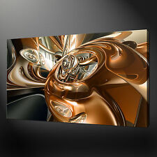 GOLD CHROME SWIRL MODERN DESIGN PICTURE CANVAS PRINT 30 X 20 Inch WALL ART