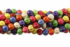 10mm Round Melon Fluted Chalk Turquoise Dyed/Stabilized Mix  Beads 15""