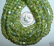 AL311 CZECH 4mm Pressed Glass CUBE Beads-OLIVINE AB-100