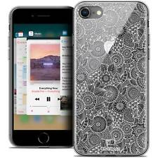 "Carcasa Cristal Gel para iPhone 8 4.7"" Extra Fina Flexible Encaje Floral Blanco"