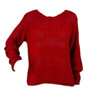 RALPH LAUREN Womens Sz L Red Long Sleeve Open Knit Pullover Sweater