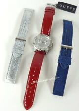 GUESS Womens Silver tone Glitz Watch Set with 3 Straps Red Leather Silver Denim