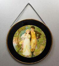 Antique Victorian Chimney Flue Cover Back Paint Glass Litho Print Couple Walking