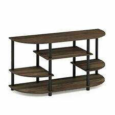 Furinno JAYA Simple Design Corner TV Stand, Columbia Walnut/Black