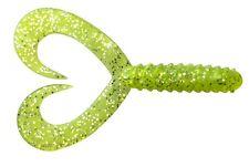 10 Doppelschwanz Twister 8cm lang Farbe Grünglitter JENZI Jiggen