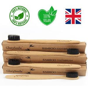 GlorySmile 4 pack - Bambo Toothbrushs -Eco-friendly Organic Med/Soft biodegra UK