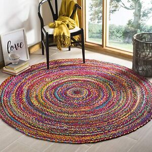 Rug Cotton Round 100% Natural Style Rug Reversible Braided Modern Look