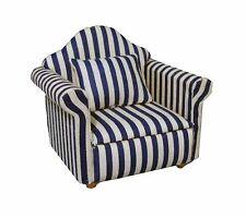 Maison de poupées échelle 1/12 bleu et blanc rayé fauteuil