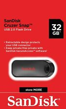 SanDisk® Cruzer Snap™ 32GB USB 2.0 Flash Drive Memory Stick Pen Genuine