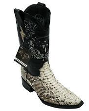 Men's genuine python snake skin cowboy boots western exotic biker square Toe