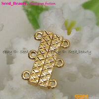 Fashion 3 Strands Yellow Gold Plated Jewelry Making Finding Magnet Clasp 14x21mm