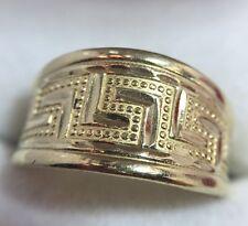 Vintage 10k Yellow Gold Diamond Cut Greek Key Artisan Bali Estate Band Ring 9