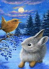 Bunny rabbit wren winter moon snow berries landscape OE aceo print art