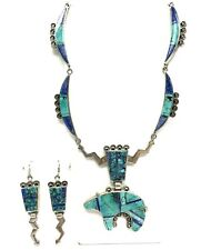 Sterling Silver, Turquoise Inlay Bear Necklace & Earrings, Zuni Native American?