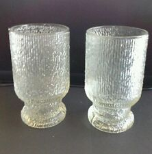 2 Indiana Clear Glass 10 oz CRYSTAL ICE Tree Bark Textured Tumblers -Set of Two
