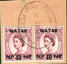 QATAR Stamps GB WILDING Overprints 1960 *Doha* Piece ex Gulf Collection BLBLUE74