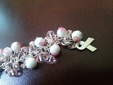Hand crafted chain and beads breast cancer bracelet