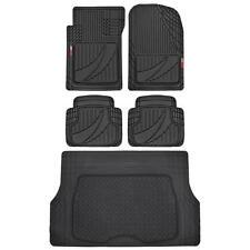 Modern Black 5pc Automotive Rubber Floor Mats & Cargo Liner for SUV Car Van