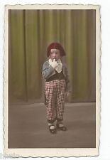 BM619 Carte Photo vintage card RPPC Enfant déguisement colorisé tinted clown