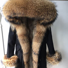 Parka real raccoon fur Nyctereutes procyon Hood with raccoon fur lining cuffs
