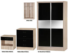 Black Gloss & Oak Trio Bedroom Set | Sliding Wardrobe Mirrored, Chest, Bedside
