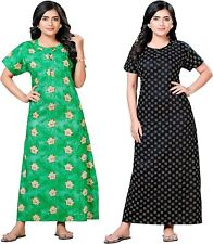 Indian Womens Free Size Printed Cotton Nighty Gown Dress for Women multicolor