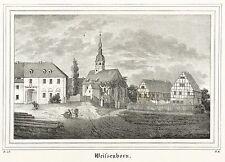 WEIßENBORN / WEISSENBORN (ERZGEBIRGE) - Dorfkern mit Kirche - Lithografie 1838