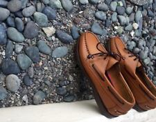 Leather Classic Boat Shoes for Men - Tan Brown - Size 44 / 11