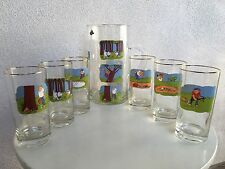 New listing Vintage West Virginia Glass Golfers Barware Set 6 Glasses Pitcher By Ashby