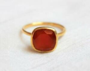 Carnelian Ring 925 Sterling Silver Ring 14K Gold Plated Ring All Size BM-281