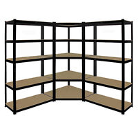 5 Tier Warehouse Shelving Storage Kit 1 x Boltless Corner Shelf & 2 x Straight