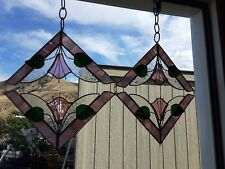 Set of 4 Tiffany Style Stained Glass Corner Window Panels 8""
