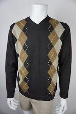 Concepts by Claiborne Mens Sweater V Neck Argyle Pattern Brown Size L NWT