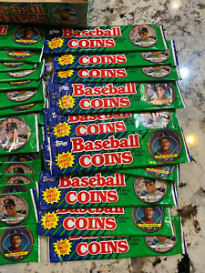 ⚾️EXTREMELY RARE BOX 1990 Topps Baseball Coins. 36 Unopened Packs, 3 Coins Pack