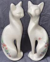 Rare 1987 Troy Clay works Modern White Art Deco Tall Cat Set Of 2. Ceramic Glaze