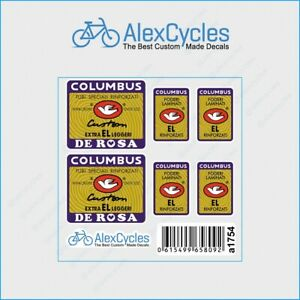 Bicycle Columbus Extra EL leggeri DE ROSA Custom Frame & Fork Decals Stickers