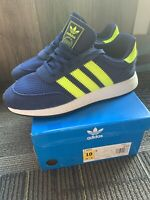 men size 10 Adidas I-5923 navy blue with neon yellow shoe F34270
