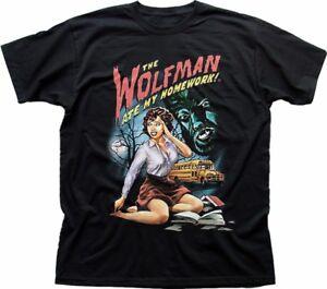 The Wolfman ate my homework Werewolf funny B movie black cotton t-shirt FN9328