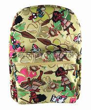 "Disney Moana w Pua & Kakamora Prints 16"" Canvas Backpack for Kids Back to School"