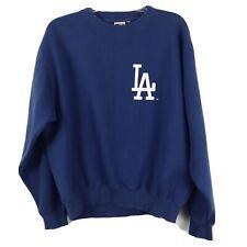 Majestic Womens Sweatshirt Long Sleeve Crew Neck LA Dodgers Print Blue Size L