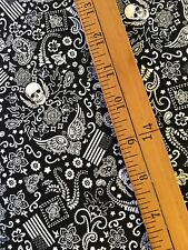 Timeless Treasure cotton fabric Halloween Skull Ditsy Tattoo FQ quilting