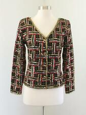 Vtg Black Wool Sequin Beaded Plaid Evening Jacket Size S Red Gold Holiday