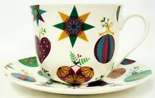 Its Xmas Cup Saucer Bone China Large Breakfast Cup Saucer Set Decorated UK